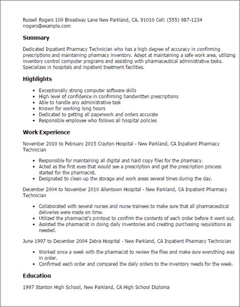 Pharmacy Technician Sample Resume by Professional Inpatient Pharmacy Technician Templates To