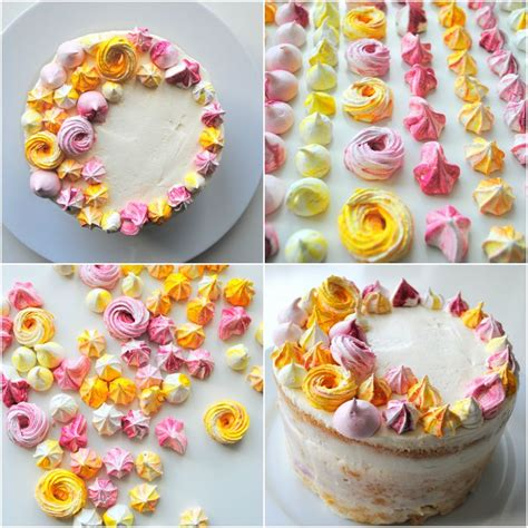 Decoration Meringue half cake with mascarpone and meringue kisses moje