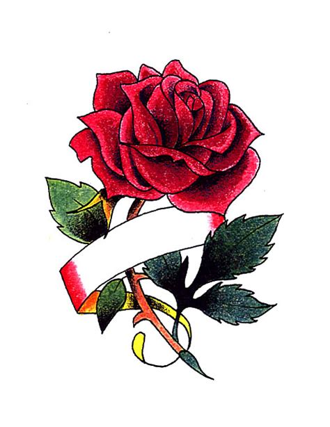 red rose with ribbon for name tattoo free design ideas