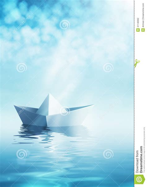 origami boat on water paper boat on azure water stock illustration image of