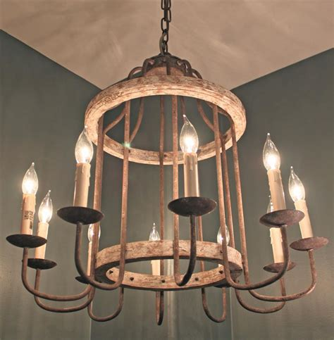 Adele French Cottage Rustic Chipped White Rust 10 Light Cottage Chandeliers