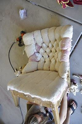 diy reupholstering tufting a chair this is an