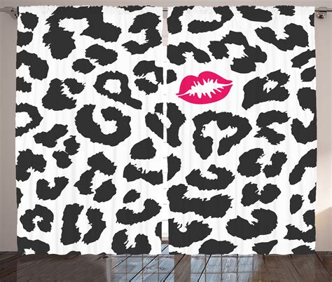 mark curtain leopard cheetah animal print pattern kiss lipstick mark