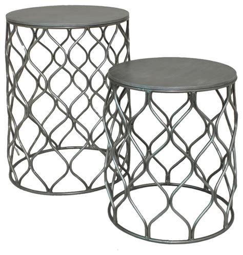 Metal Lattice Frame Wood Tables 2 Set Indoor Outdoor
