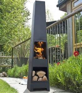 modern outdoor patio fireplace yard steel chiminea garden