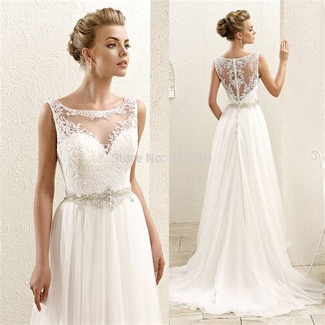 cheap beach wedding dresses bohemian scoop tank lace bridal gowns 2016 real photo chiffon summer