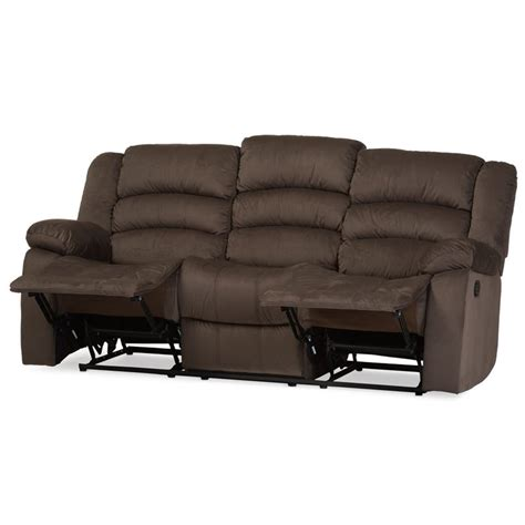 Microsuede Reclining Sofa Hollace Microsuede Reclining Sofa In Taupe 98240 Brown Sf
