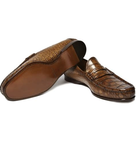 alligator loafers for ralph alligator leather loafers in brown for