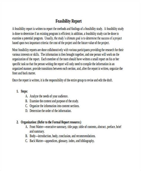 technical feasibility report template 8 feasibility report exles sles
