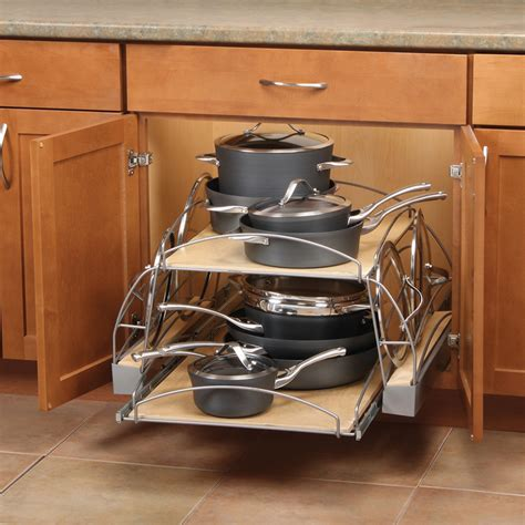 kitchen cabinet pot organizer shop knape vogt 25 5 in w x 14 25 in h wood 2 tier pull