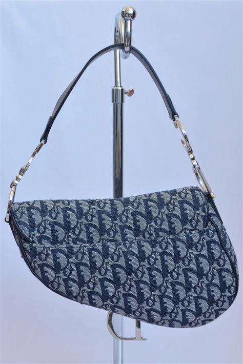 Khaki Denim Gaucho Bag by Christian Blue Denim Fabric Gaucho Saddle Bag Handbag