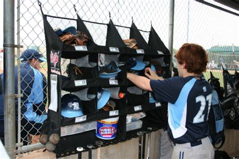 dugout organizer for baseball softball gear bats helmets