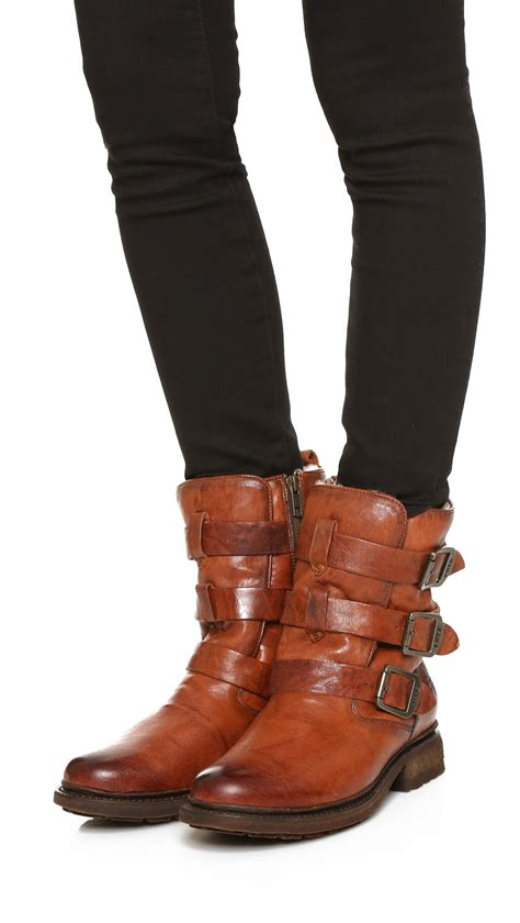 frye valerie shearling boots lyst frye valerie shearling strappy boots in brown
