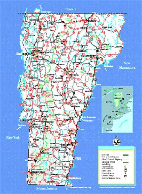 printable vermont road map pin vermont road map see details from infohubcom on pinterest