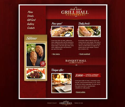bbq restaurant website template web design templates