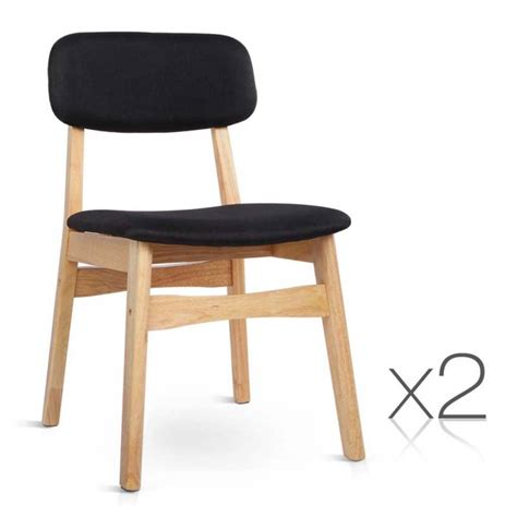 Buy Dining Chairs Melbourne 2x Replica Ari Wood Fabric Dining Chairs In Black Buy Sets Of 2