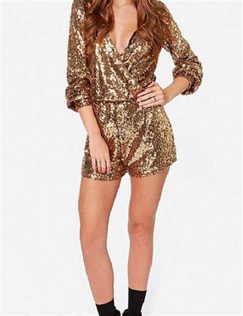 aliexpress buy nextshe fashion solid v neck gold sequin romper rompers sleeve