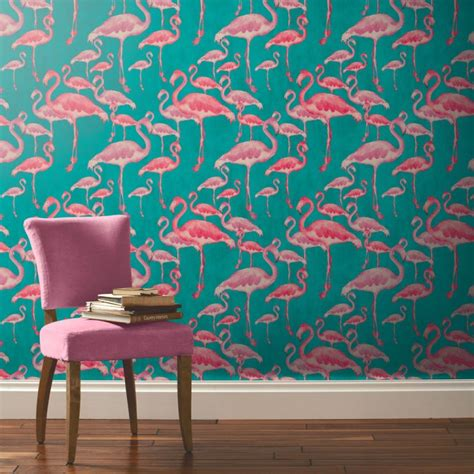 Wall Murals Cityscapes flamingo beach fuschia designer wallpaper
