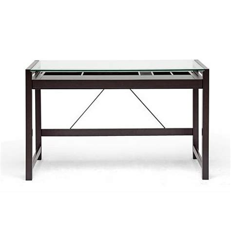 idabel brown wood modern desk with glass top hsn