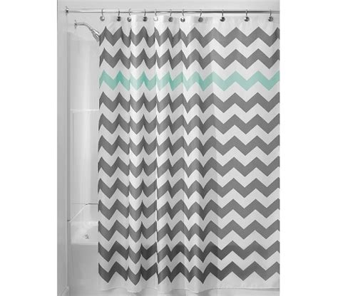 Chevron Fabric Shower Curtain Gray Aruba Dorm Essentials