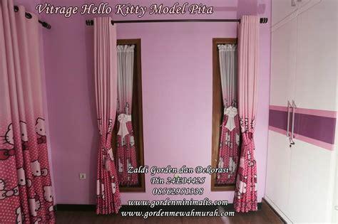 Gorden Hellokitty Pink gorden hello untuk kamar anak model pita dipadu
