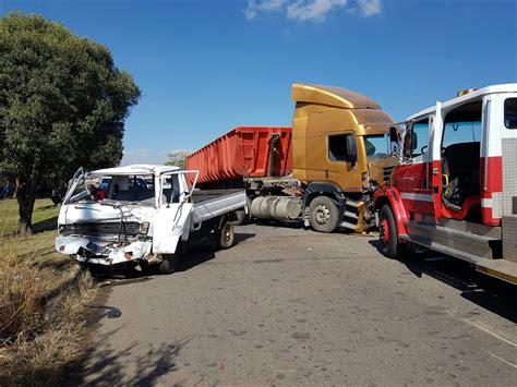 man  critical condition  collision   trucks vanderbijlpark