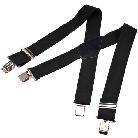 rugged suspenders 50mm unisex mens braces plain black heavy duty suspenders adjustable ebay