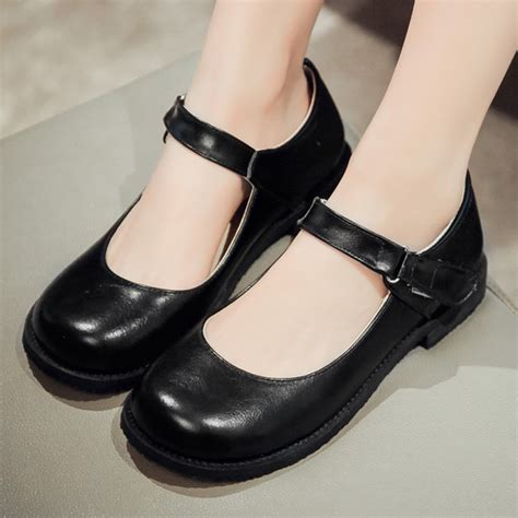 black nurse shoes comfortable new comfortable big round toe flat shoes women summer