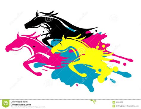 4 color print print colors as running horses stock vector illustration