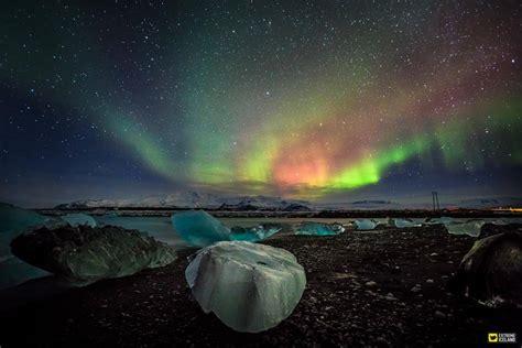 northern lights iceland map jokulsarlon glacier lagoon two days minibus tour to