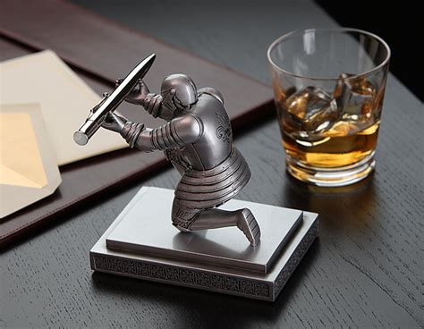 Unique Desk Clocks by Executive Knight Pen Holder Additional Image