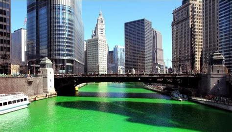 chicago river st s day history chicago river dyed green for st s day republic world