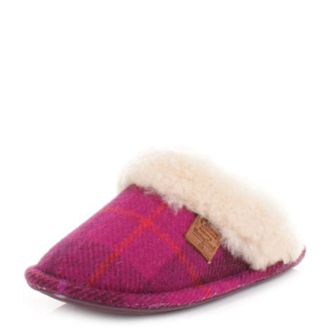 Womens Bedroom Slippers by Womens Bedroom Athletics Kate Purple Pink Tweed Sheepskin