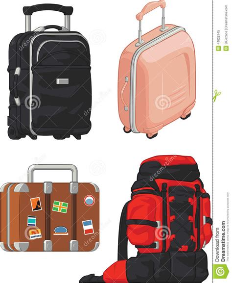 Tulipware Travel Set Mt New travel suitcase and mountain bag stock vector image 41022745