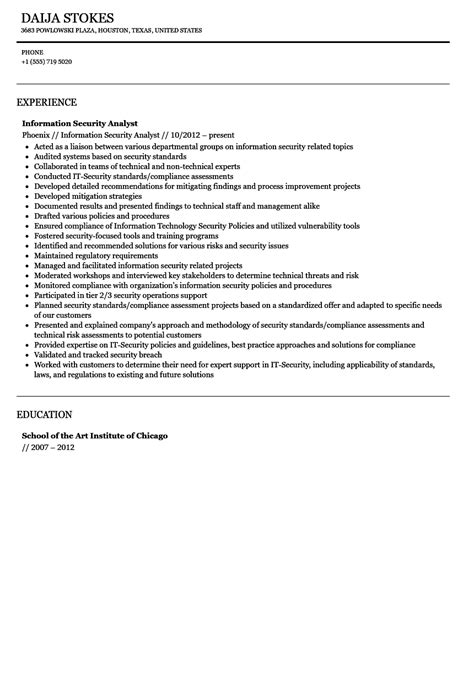 information security analyst resume sle information security analyst resume resume ideas
