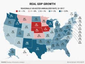 us states economy map growth state map q1 2017 business insider