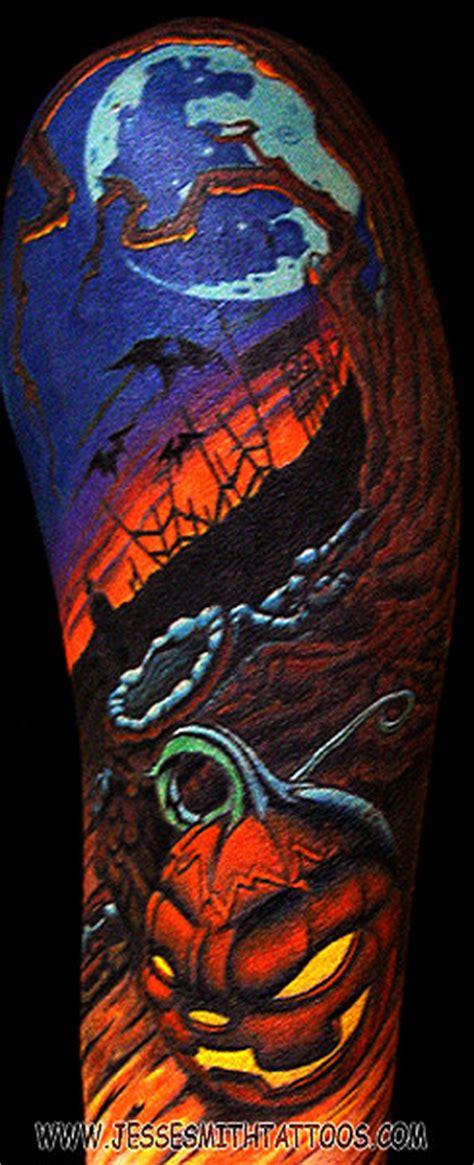 tattoo cartoon halloween halloween scene by jesse smith tattoonow
