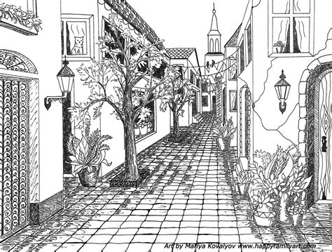 libro the street art colouring single point perspective drawing of a street