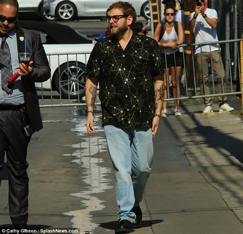 jonah hill tattoo jonah hill shows his new while arriving at the