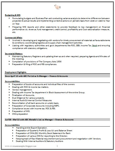 resume format for experienced accountant doc cv resume sle for experienced chartered accountant 2 career cv resume