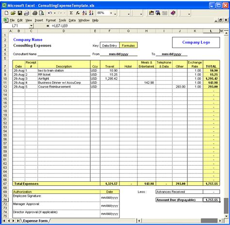 expenditure excel template consulting expense excel template at ivertech