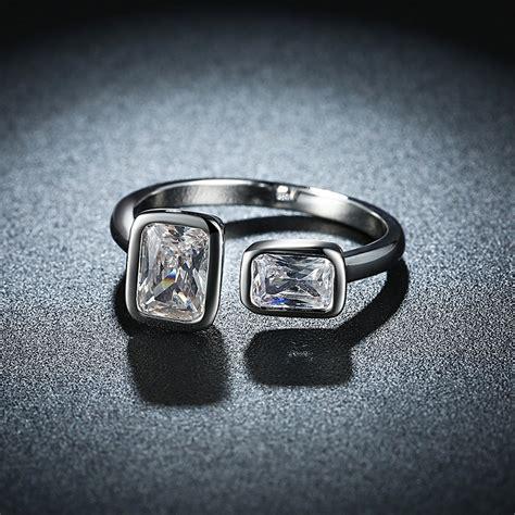 platinum plated square rhinestone ring opening finger