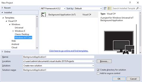 visual studio form templates windows iot visual studio project templates