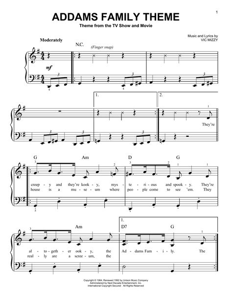 theme song to bloodline the addams family theme sheet music direct