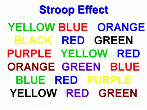 stroop color word test word illusions