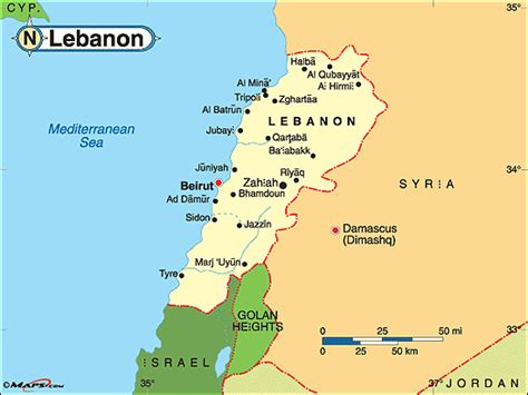map world lebanon lebanon political map by maps from maps world s