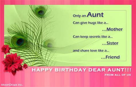 happy birthday aunt printable cards poetry forever arien