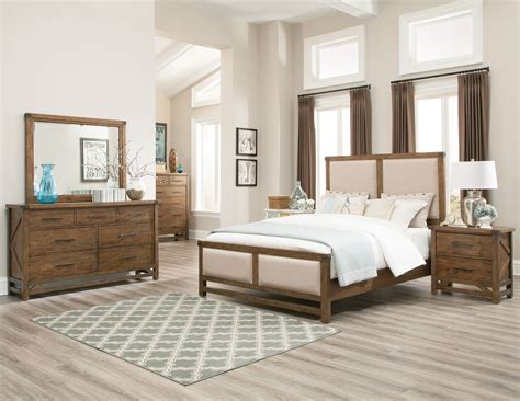 bridgeport weathered acacia panel bedroom set from coaster