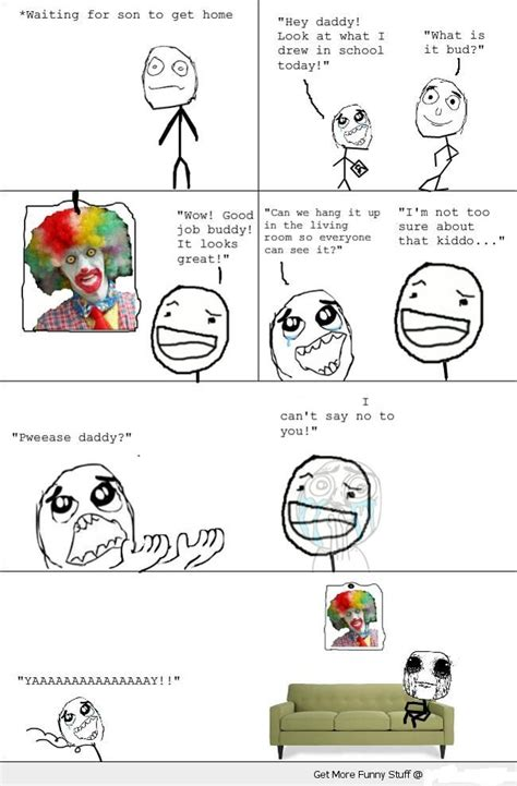 Funny Comic Memes - funny d scary clown rage comic