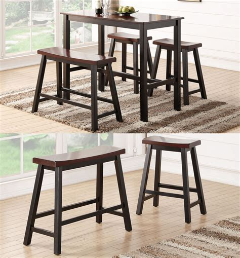 espresso wooden rectangular counter height dining kitchen table high bench stool ebay